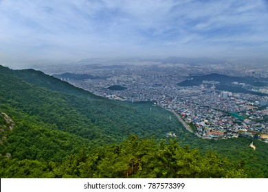 The view of Daegu City from Apsan Park Mountain, South Korea.