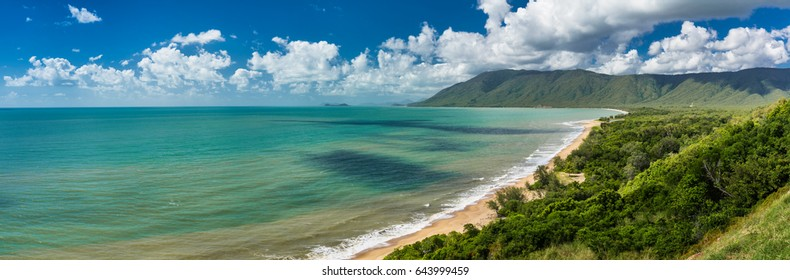 View of Daintree Cape Tribulation - sunny beach on Australian Coast in Queensland