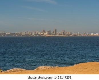 View of Dakar city fron the bank of island Goree. Gorée Island. Dakar, Senegal. Africa. Île de Gorée.
