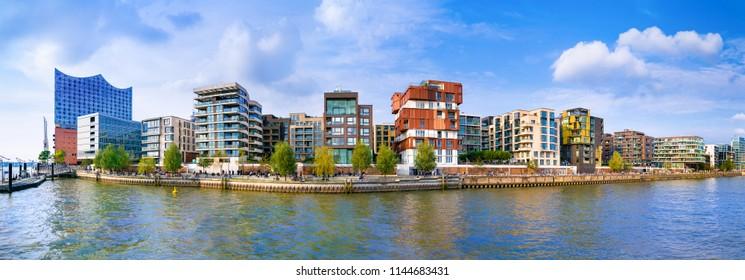 A view of the Dalmankai in the Hafen City quarter of Hamburg, Germany, as seen across the Grasbrook Harbor (German: Grasbrookhafen).