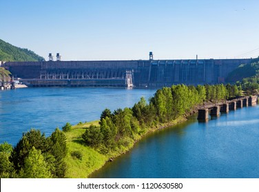 View of a dam of hydroelectric power station on the Yenisei River, Russia, Siberia, a lock for a crossing of the ships through a dam.