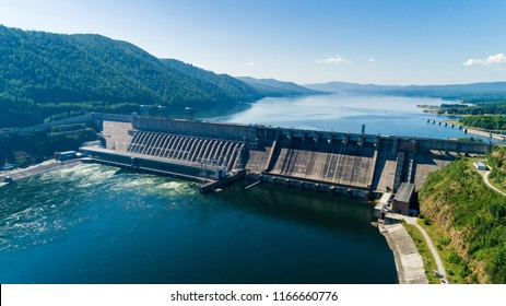 View of a dam of hydroelectric power station in Russia on the Yenisei River, shooting from air