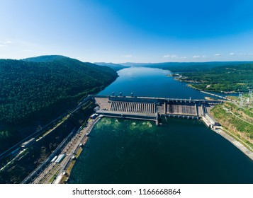 View of a dam of hydroelectric power station in Russia on the Yenisei River, shooting from air, panorama
