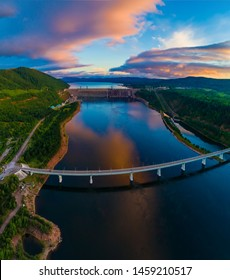 View of a dam of hydroelectric power station on the Yenisei River, Russia, Siberia, shooting from air
