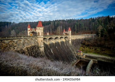 A view of the Dam on the Most Beautiful Dam in the Czech Republic Les Království on a Clear Winter Morning - Shutterstock ID 1904356984