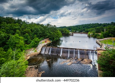 View of a dam on the Piscataquog River, from the Pinard Street Bridge in Manchester, New Hampshire.
