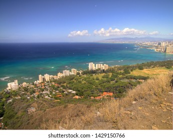 View from the Damond Head Krater in Oahu Hawaii.