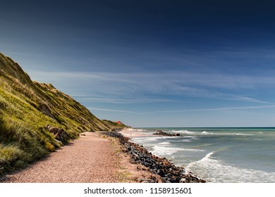View of the danish beach coastline with green grass dunes during bright daytime and blue sky perfect for summer. Danish Beach, Lokken, Lønstrup in North Jutland in Denmark, Skagerrak, North Sea