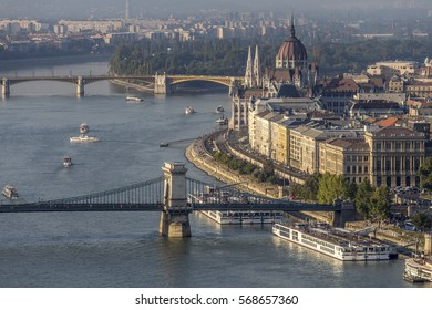View of the Danube, Chain Bridge and the Hungarian Parliament in Budapest