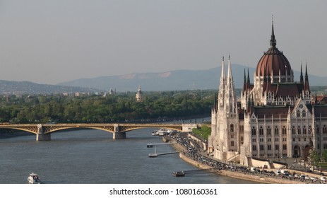 View of Danube River and Parliament Building, Budapest, Hungary
