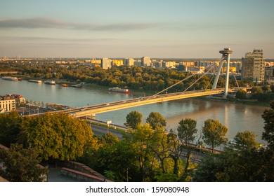 View of Danube River and SNP Bridge in Bratislava, Slovakia