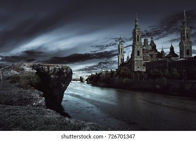 View of dark castle with dark sky at night
