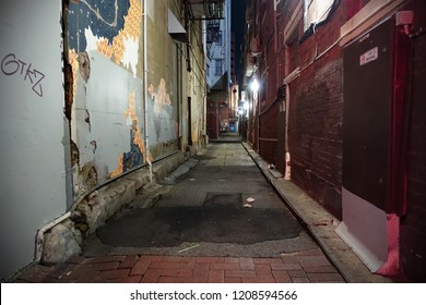 View of a Dark Inner City Alleyway