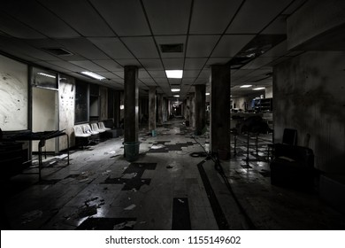 View of dark room abandoned in the Psychiatric basement creepy Hospital basement at bangkok, Thailand. Halloween frightful scary Concept.