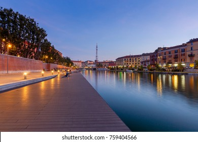 View of the Darsen Canal at sunset. Milan. Italy.