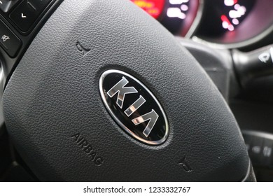 View of the dashboard and steering wheel of a modern Kia. Rome, Italy - November 2018.