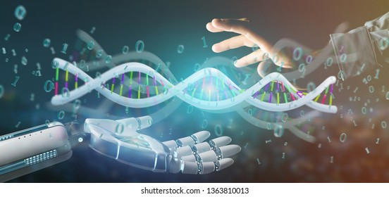 View of a data coded Dna with binary file around 3d rendering