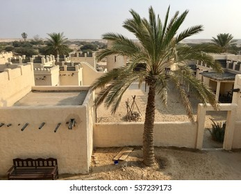 View of date palm tree in an old reconstructed deserted Arab village, near Doha, Qatar
