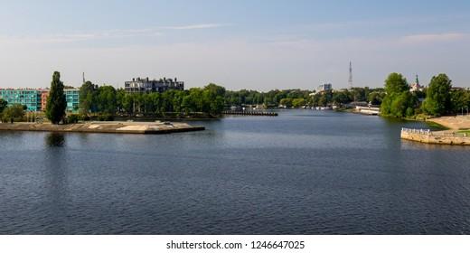 View of the Daugava River as it passes through Riga in Latvia