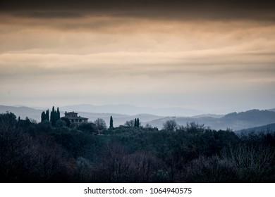 View at dawn across Tuscany from San Gusme