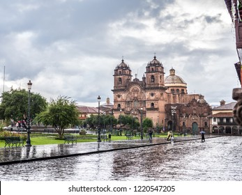 View of the Compañia de Jesus church in the Plaza de Armas of Cusco