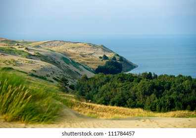 View of Dead Dunes, Curonian Spit and Curonian Lagoon, Nagliai, Nida, Klaipeda, Lithuania. Baltic Dunes.Unesco heritage.