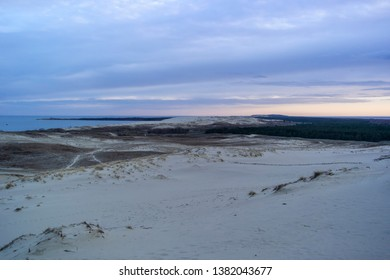 View of Dead Dunes, Curonian Spit and Curonian Lagoon, Nagliai, Nida, Klaipeda, Lithuania. Baltic Dunes.Unesco heritage