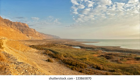 View of Dead Sea coastline, Sunrise. Israel