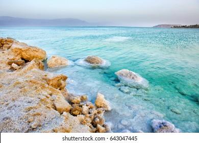 View of Dead Sea coastline at sunset, Israel