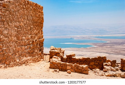 a view of the dead sea from near the snake path gate and the rebel dwellings of the masada fortress in israel