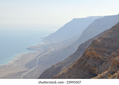 View to the Dead sea surrounded by mountains