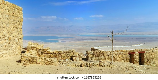 View of the Dead Sea from the top of Mount Masada