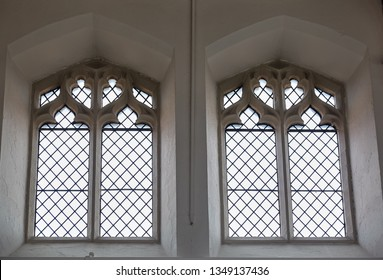 The view of the decorated Gothic tracery window at the St Matthew's Church. Sheffield. South Yorkshire.  England