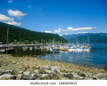 View of Deep Cove Marina on a sunny day, Canada