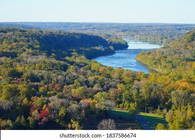 View of the Delaware River between Bucks County, Pennsylvania, and Hunterdon County, New Jersey, seen from the Bowman's Hill Tower during foliage season
