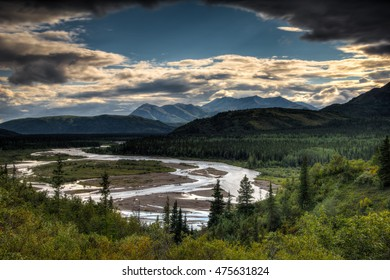 View in Denali National Park, Alaska, USA on a cloudy summer day