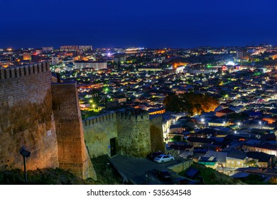 View of Derbent city from Naryn-Kala fortress at night. Republic of Dagestan, Russia