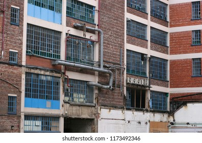 View of derelict industrial buildings.