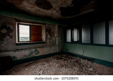 A view of the derelict top floor at the formerly abandoned Wick Building in downtown Youngstown, Ohio.