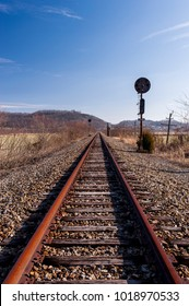 A view of derelict, unused tracks along the Norfolk Western Railway Portsmouth Subdivision in the Appalachian Mountains near Portsmouth, Ohio.