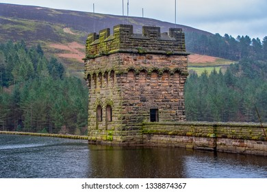 View of Derwent Dam and Reservoir, Peak District, Derbyshire, UK. This was the practice location for the Dambusters in 1943