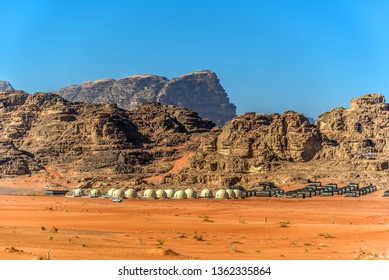 View of the desert camp with Martian domes in Wadi Rum, Jordan