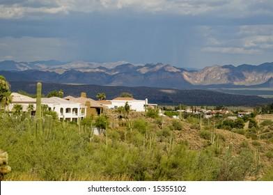View of desert mountain area community in Arizona