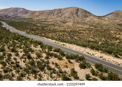 View of a desert roadway in the heart of the Mojave in southern California.