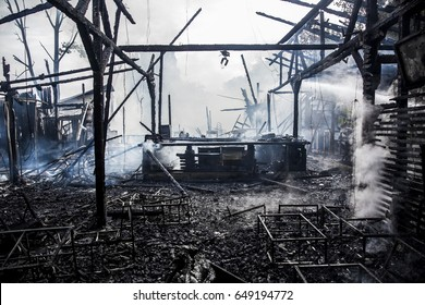 view of a deserted run down building after a fire