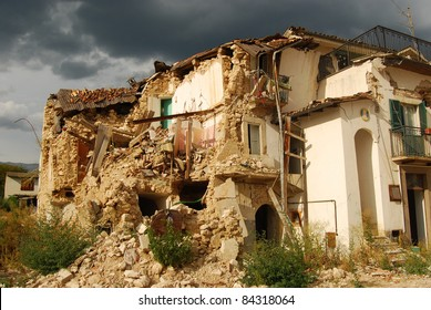 A view of destruction caused by the terrible earthquake in the village of Onna (Aquila)