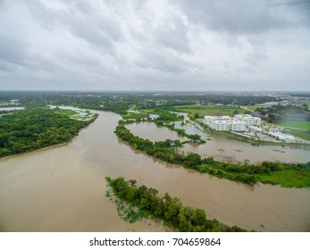 View of the devastation of Hurricane Harvey in League City Texas near i45