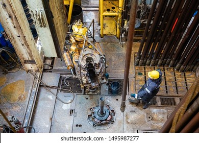 View of the device of an oil drilling rig, Siberia, Russia