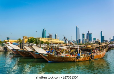 View of a dhow port in Kuwait.
