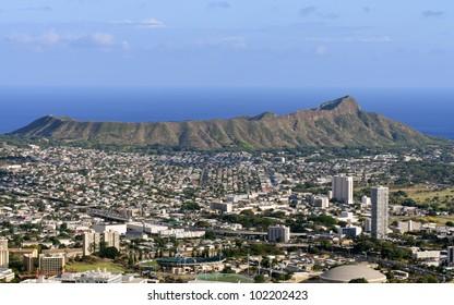 A view of Diamond Head from Tantalus Drive, Oahu, Hawaii.